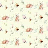 Cute watercolor baby deer animal seamless pattern, nursery isolated illustration for children clothing, patterns. Watercolor Hand drawn boho image Perfect for Vector Illustration