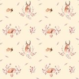 Cute watercolor baby deer animal seamless pattern, nursery isolated illustration for children clothing, patterns. Watercolor Hand drawn boho image Perfect for Royalty Free Illustration