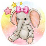 Cute watercolor baby girl elephant with pink bow
