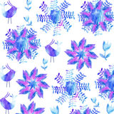 Cute watercolor background with cute birds and flowers,  fantasy card Stock Images