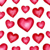 Cute watercolor background Red hearts Stock Photos