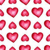 Cute watercolor background Red hearts Royalty Free Stock Images