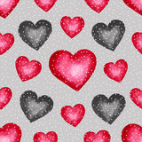 Cute watercolor background Red hearts Royalty Free Stock Photography