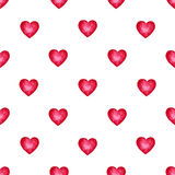 Cute watercolor background Red hearts Stock Images