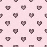 Cute watercolor background Red hearts Stock Photography