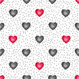 Cute watercolor background Red hearts Royalty Free Stock Photos