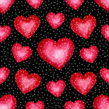 Cute watercolor background Red hearts Stock Image