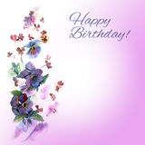 Cute watercolor birthday card with blue pansies. Flower background stock illustration