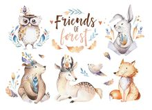 Free Cute Watercolor Bohemian Baby Cartoon Rabbit And Bear Animal For Kindergarten, Woodland Deer, Fox And Owl Nursery Royalty Free Stock Images - 112845059