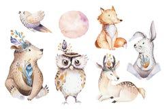 Cute Watercolor Bohemian Baby Cartoon Rabbit And Bear Animal For Kindergarten, Woodland Deer, Fox And Owl Nursery Stock Photo