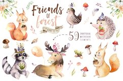 Cute watercolor bohemian baby cartoon hedgehog, squirrel and moose animal for nursary, woodland isolated forest. Cute watercolor bohemian baby cartoon rabbit and