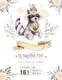 Cute watercolor bohemian baby raccoon animal poster for nursary with bouquets, children alphabet woodland isolated