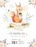 Cute watercolor bohemian baby squirrel animal poster for nursary, alphabet woodland isolated forest illustration for. Cute watercolor bohemian baby squirrel Stock Images