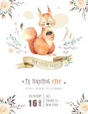 Cute watercolor bohemian baby squirrel animal poster for nursary, alphabet woodland isolated forest illustration for. Cute watercolor bohemian baby squirrel Stock Image