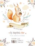 Cute watercolor bohemian baby squirrel animal poster for nursary, alphabet woodland isolated forest illustration for. Cute watercolor bohemian baby squirrel Stock Photos