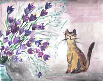 Cute watercolor card with cat. And flowers Royalty Free Stock Images
