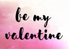 Be my valentine cute watercolor Stock Photos