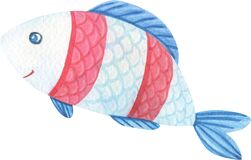 Cute watercolor cartoon fish with red stripes. Watercolour isolated image on a white background.