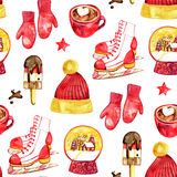 Cute watercolor christmas seamless pattern Stock Images