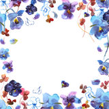 Cute watercolor circular flower frame. Background with watercolor blue pansies. Stock Photo