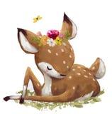 Cute watercolor deer stock illustration