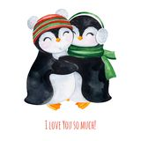Cute watercolor embracing penguins in winter knitted clothes. Hand painted holiday illustration.Perfect for your Christmas and New Year project,invitations vector illustration
