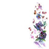 Cute watercolor flower background with blue pansies. Invitation. Wedding card. Birthday card royalty free illustration