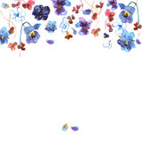 Cute watercolor flower background with blue pansies. Invitation. Wedding card. Birthday card stock illustration
