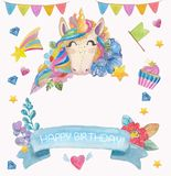 Cute watercolor flower background with magic unicorn Royalty Free Stock Photography