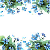 Cute watercolor flower border. Background with blue watercolor forget me nots. Invitation. Wedding card. Birthday card stock illustration