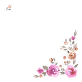 Cute watercolor flower border. Background with pink roses. Cute watercolor flower corner. Background with pink roses. Invitation. Wedding card. Birthday card Stock Photo