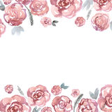 Cute watercolor flower border with pink roses. Invitation. Wedding card. Birthda Stock Images