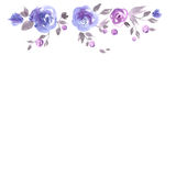 Cute watercolor flower frame. Background with blue roses royalty free illustration