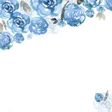 Cute watercolor flower frame. Background with blue roses. stock illustration