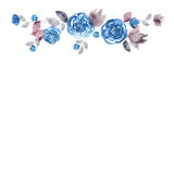 Cute watercolor flower frame. Background with blue roses. Invitation. Wedding card. Birthday card vector illustration