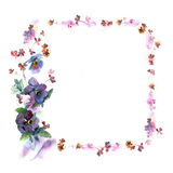 Cute watercolor flower frame. Background with pansies. Stock Photography