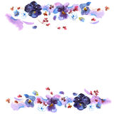 Cute watercolor flower frame. Background with pansies. Invitation. Royalty Free Stock Image