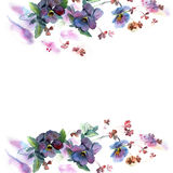 Cute watercolor flower frame. Background with watercolor pansies. Invitation. Wedding card. Birthday card Stock Image