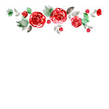Cute watercolor flower frame. Background with red roses. Stock Image