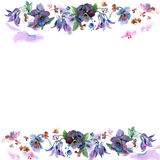Cute watercolor flower frame. Background with watercolor bells and pansies. Royalty Free Stock Image