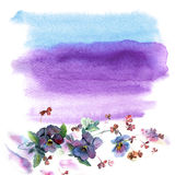 Cute watercolor flower frame. Background with watercolor pansies. Invitation. Wedding card. Birthday card royalty free stock photography