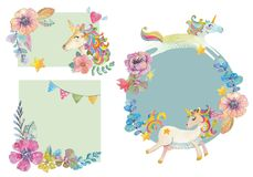 Cute watercolor flower sets Royalty Free Stock Images
