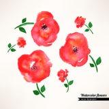 Cute watercolor flowers Stock Photo
