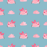 Cute watercolor flying pigs seamless pattern. Valentines day vector background Royalty Free Stock Photography