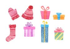 Cute watercolor gift set. decorative elements isolated on white background.