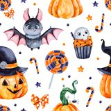 Dark Background with pumpkins, candy,muffin,bat,skull and bow. Cute watercolor Halloween seamless pattern.Background with pumpkins, candy,muffin,bat,skull and vector illustration
