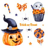Texture with pumpkin and black hat, candy,muffin,skull and bow. Cute watercolor Halloween set.Texture with pumpkin and black hat, candy,muffin,skull and bow stock illustration