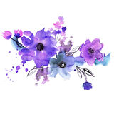 Cute watercolor hand painted flowers. Stock Photography