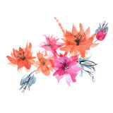 Cute watercolor hand painted flowers. Royalty Free Stock Image