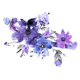 Cute watercolor hand painted flowers. stock illustration